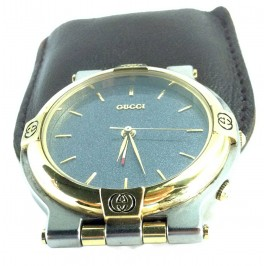Late 80's Gucci Travel Alarm Clock Vintage Carbon Grey Dial Steel & Gold *UNIQUE*