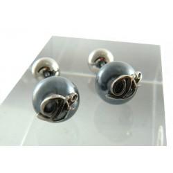 DSquared2 gemelli eleganti e raffinati in palladio e grigio scuro su asta di bronzo