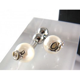 DSquared2 Cufflinks Palladium over Pearl White, classic jewelry for class and elegance occasions