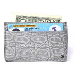 Man's Grey Nubuck Alligator Credit Card Case, Business Card & ID Wallet