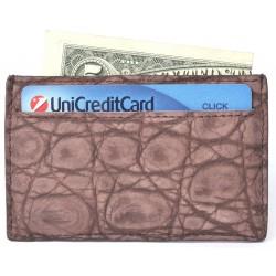 Porta Carte di Credito in Coccodrillo Nubuck Marrone
