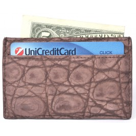 Man's Brown Nubuck Alligator Credit Card Case, Business Card & ID Wallet