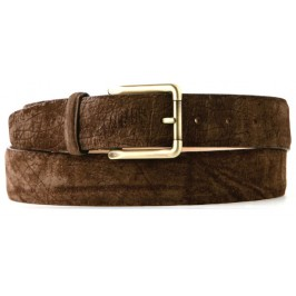 Custom Hippopotamus Leather Belt 3.5cm Savannah Brown