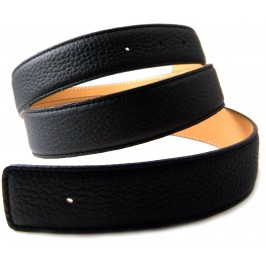 BLACK replacement Leather Strap compatible with HERMES 32mm Buckle Belt Kit