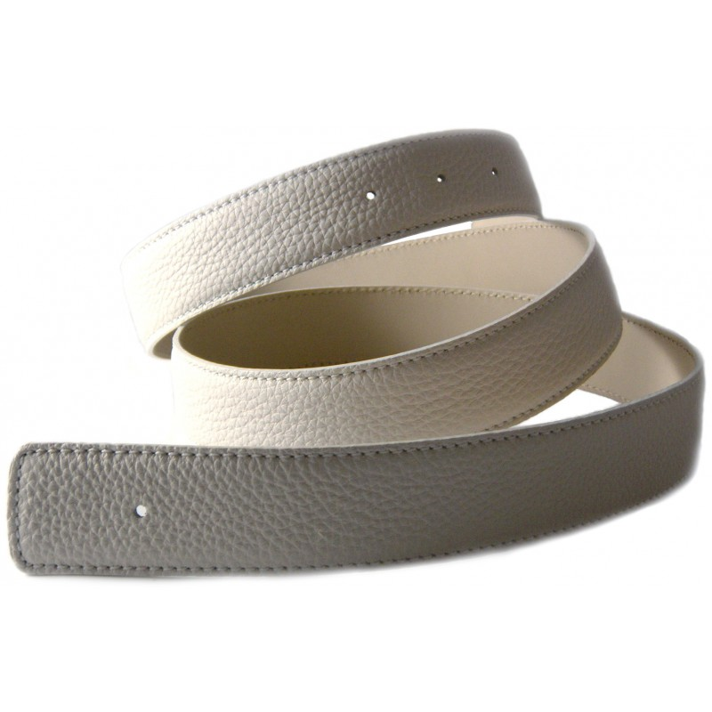 Creamy White Belt Strap Replacement Textured Leather