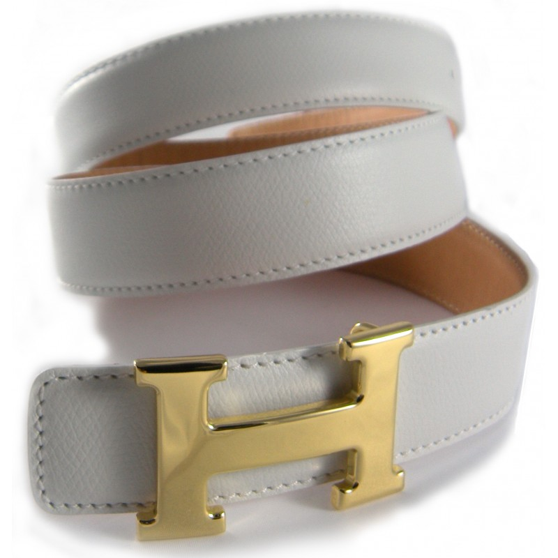 White Belt Strap Replacement Textured Leather