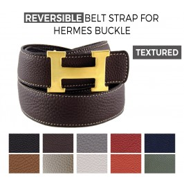 Reversible Textured Belt Strap Replacement for HERMES Buckle Belt Kits