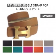 Reversible Smooth Calfskin Strap CLASSIC COLORS for HERMES Buckle Belt Kit