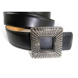 Custom Buckle Fancy Women Black Calfskin Belt