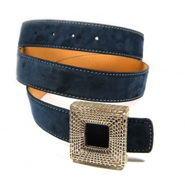 Custom Cubic Buckle Blue Fancy Women Suede Belt