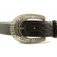 Ladies' 4cm Snake Skin Belt with Oriental Horseshoe Buckle