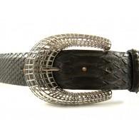 Ladies' 4cm Snake Skin Belt with Oriental Horseshoe Buckle