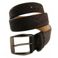 Custom artisan handmade Elephant Belt 4cm Dark Brown with rhodium Buckle