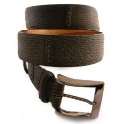 Custom artisan handmade Shark Belt 4cm Faded Brown with Nubuk Finish