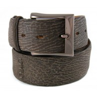 Custom artisan handmade Shark Belt 4cm Faded Brown with Nubuk Finish