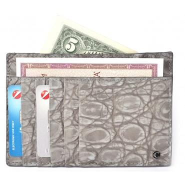 Porta Carte di Credito Business in Coccodrillo Grigio Nabuk