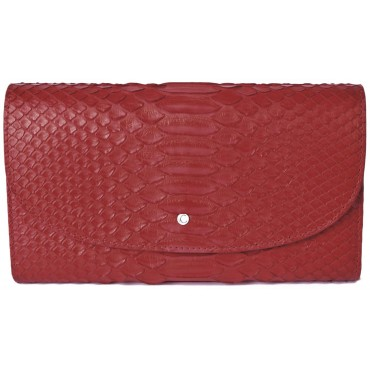 Large Women's Red Snake Skin Wallet with Gusset and Zip