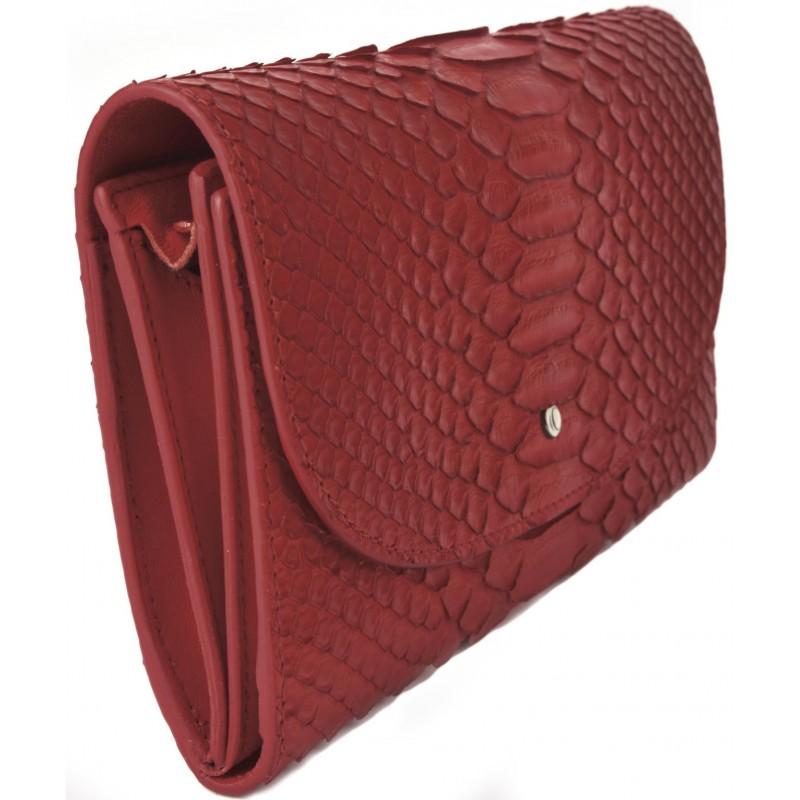 4a97f69610 Portafoglio Grande da Donna in Pitone Rosso con Soffietto e Zip - La ...