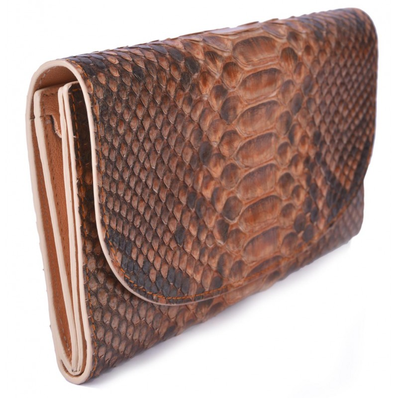 09b2f77ff68e4 Large Women s Orange Snake Skin Wallet with Gusset and Zip - La ...