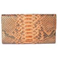Large Women's Orange Snake Skin Wallet with Gusset and Zip