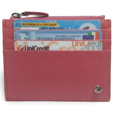 Women's Pink Rose Calfskin Credit Card Case with Zip