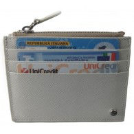 Women's White Calfskin Credit Card Case with Zip