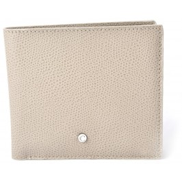 Men's Light Taupe Textured Calfskin Square Wallet