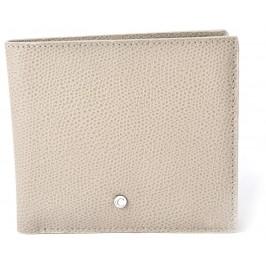 Men's Light Taupe Textured Calfskin Square Wallet