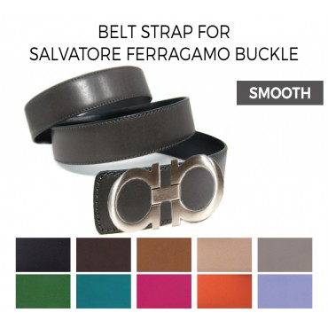 Belt Strap Replacement for SALVATORE FERRAGAMO Buckle Smooth Leather