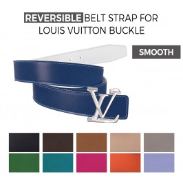 Reversible Smooth Belt Strap Replacement for LOUIS VUITTON Signature Buckles
