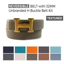Reversible Textured Belt with Unbranded H 32MM Bucke Belt Kit