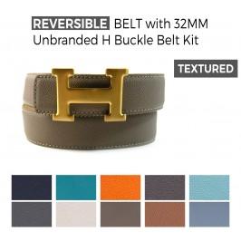 Cintura Double Face in Pelle Stampata con Fibbia H 32MM Senza Brand
