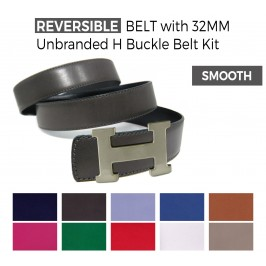 Cintura Double Face in Pelle Liscia con Fibbia H 32MM Senza Brand